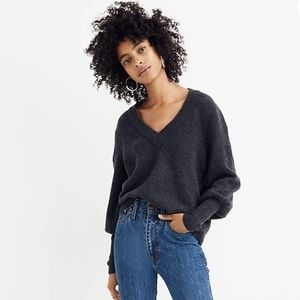 Madewell Dashward V Neck Sweater Grey
